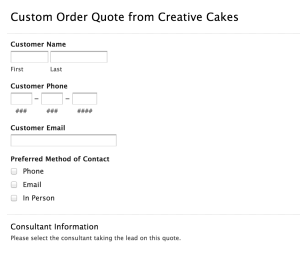 Custom Order Quote Form